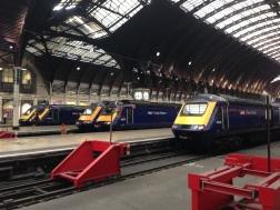 Trains waiting at Paddington Station.